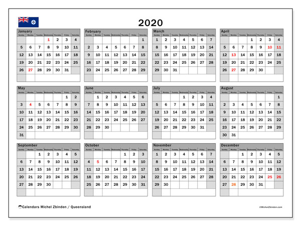 2020 Calendar, with the holidays of Queensland. Holidays calendar to print free.