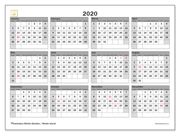 Annual Calendar 2020 - Rhode Island. Public Holidays. Annual Calendar and free planner to print.