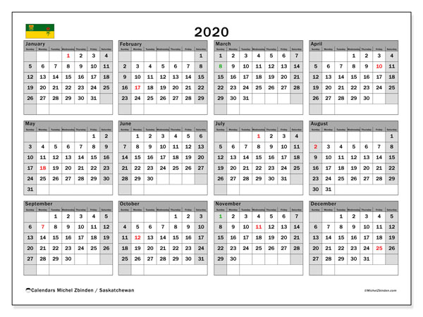 Calendar 2020 Canada 2020 Calendar, Saskatchewan (Canada)   Michel Zbinden EN