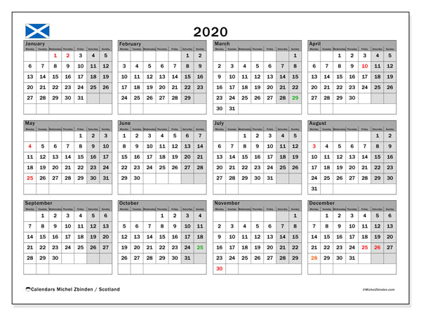 2020 Calendar, with the holidays of Scotland. Holidays calendar to print free.