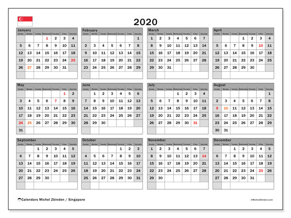 2020 Calendar, with the holidays of Singapore. Free printable calendar with public holidays.