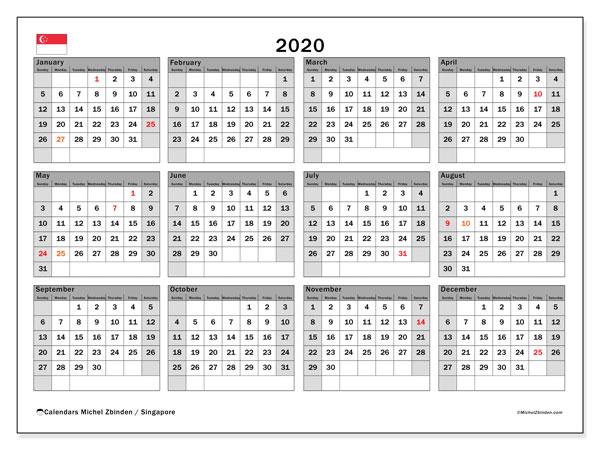 2020 Calendar, with the holidays of Singapore. Holidays calendar to print free.