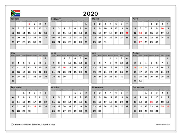 2020 Calendar, with the holidays of South Africa. Holidays calendar to print free.