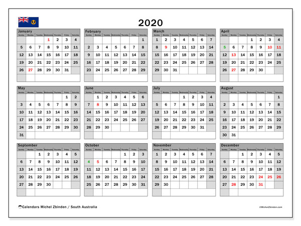 2020 Calendar, with the holidays of South Australia. Free printable calendar with public holidays.