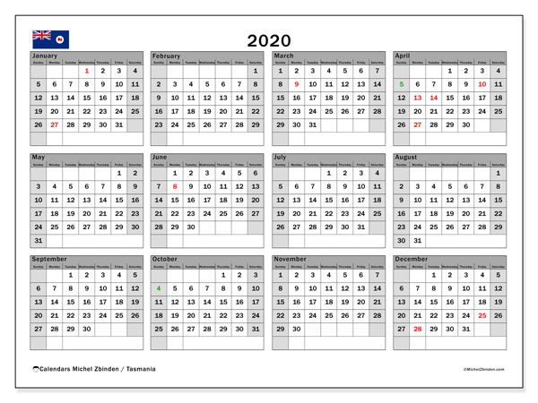 2020 Calendar, with the holidays of Tasmania. Free printable calendar with public holidays.