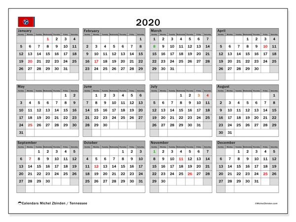 2020 Calendar, with the holidays of Tennessee. Holidays calendar to print free.