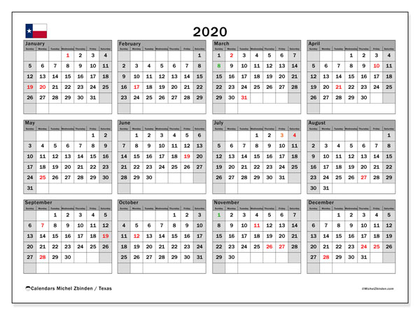 Annual Calendar 2020 - Texas. Public Holidays. Annual Calendar and schedule to print free.