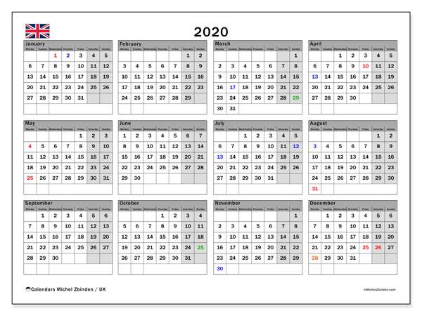 Uk Holiday Calendar 2020 2020 Calendar, UK   Michel Zbinden EN