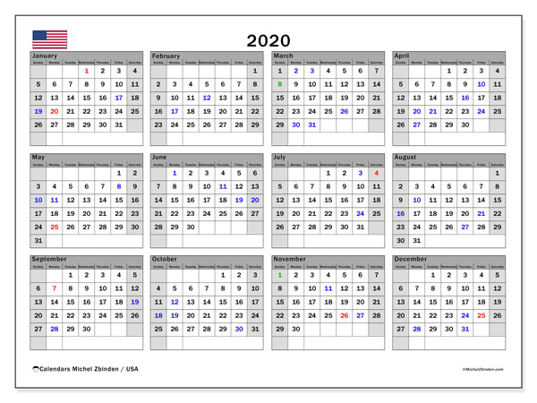 Printable calendars, Annuals 2020, Public Holidays