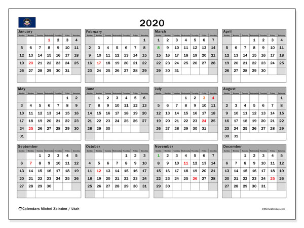 2020 Calendar, with the holidays of Utah. Free printable calendar with public holidays.