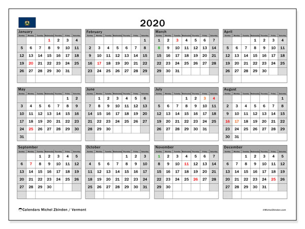 Annual Calendar 2020 - Vermont. Public Holidays. Annual Calendar and bullet journal to print free.