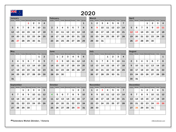 2020 Calendar, with the holidays of Victoria. Free printable calendar with public holidays.
