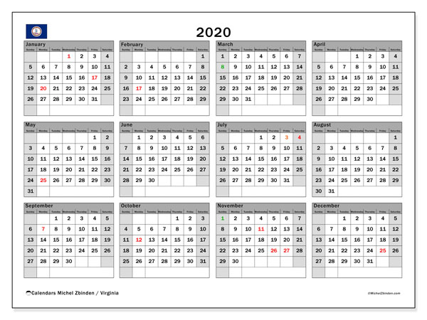 2020 Calendar, with the holidays of Virginia. Free printable calendar with public holidays.