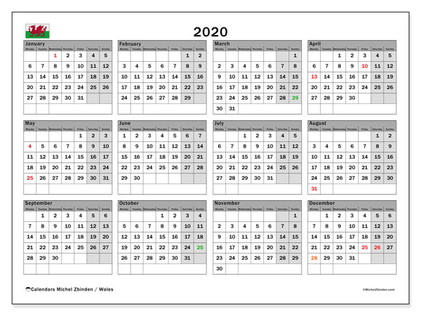Calendar 2020, with the holidays of Wales. Free printable monthly calendar.