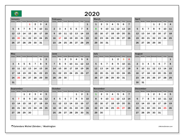2020 Calendar, with the holidays of Washington. Holidays calendar to print free.