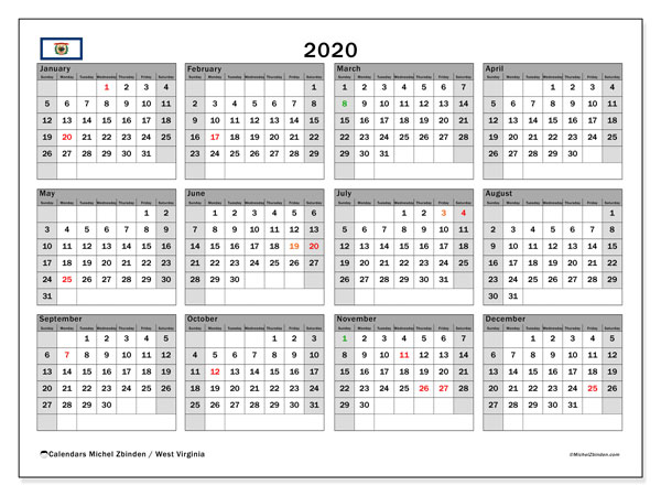 2020 Calendar, with the holidays of West Virginia. Holidays calendar to print free.