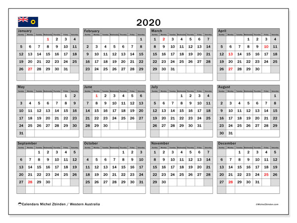 2020 Calendar, with the holidays of Western Australia. Holidays calendar to print free.