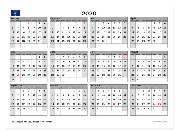 2020 Calendar, with the holidays of Wisconsin. Free printable calendar with public holidays.