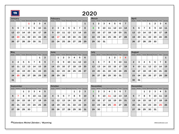 Annual Calendar 2020 - Wyoming. Public Holidays. Annual Calendar and free agenda to print.