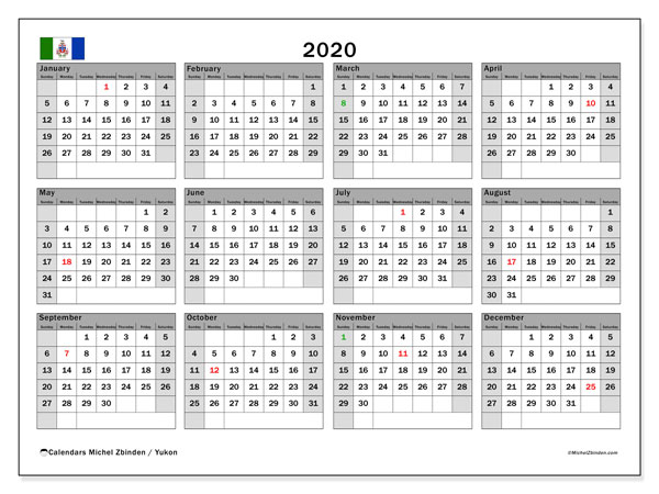 Annual Calendar 2020 - Yukon. Public Holidays. Annual Calendar and bullet journal to print free.