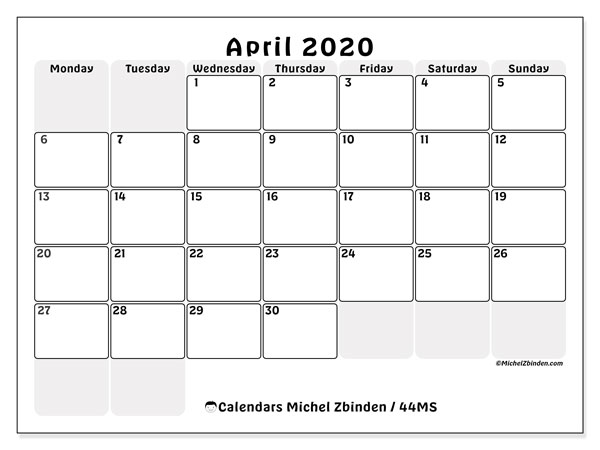 April 2020 Calendar, 44MS. Calendar to print free.