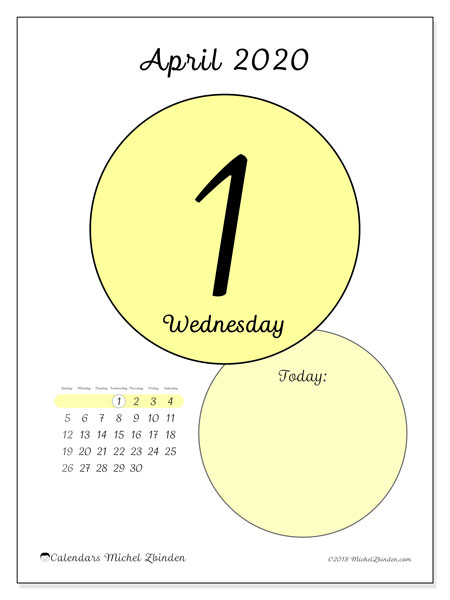 Calendar  April 2020, 45-1SS
