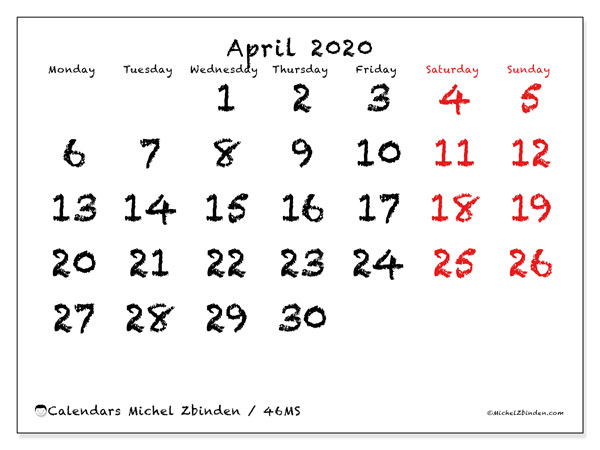 April 2020 Calendar, 46MS. Monthly calendar to print free.