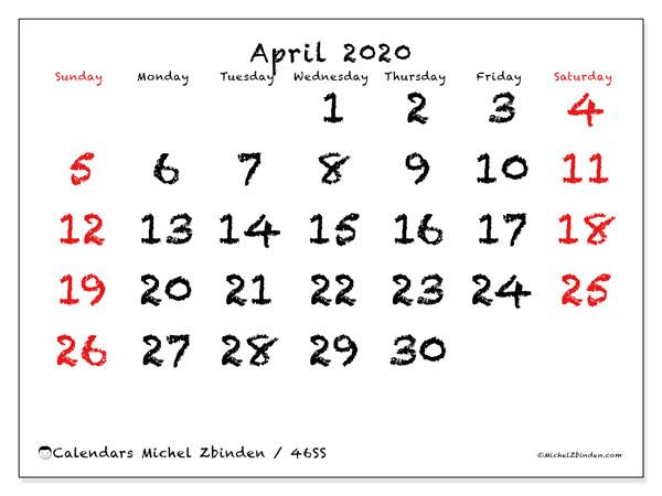 April 2020 Calendar, 46SS. Free printable calendar.
