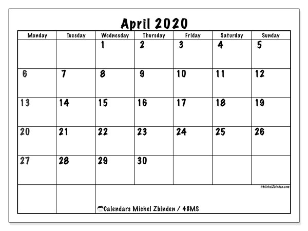April 2020 Calendar, 48MS. Bullet journal to print free.