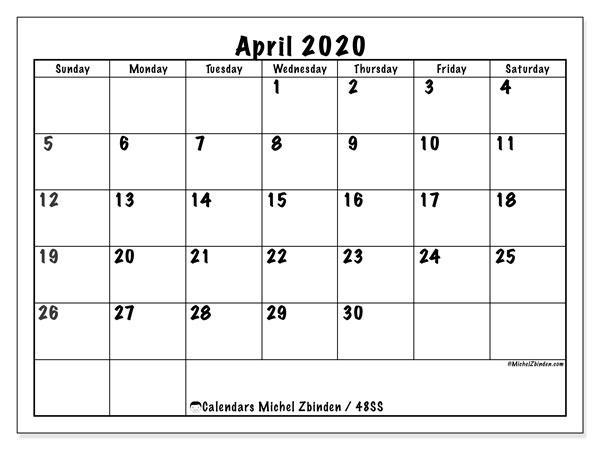 April 2020 Calendar, 48SS. Free printable monthly planner.