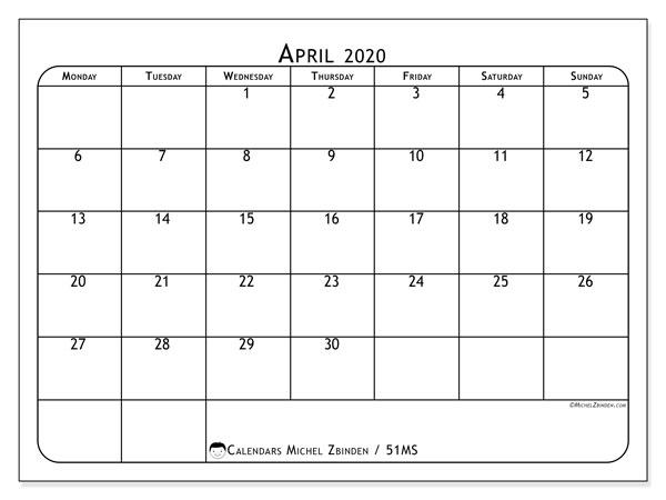 April 2020 Calendar, 51MS. Free calendar to print.