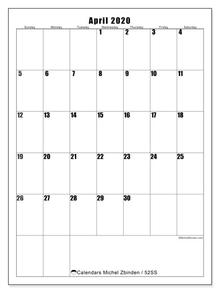 April 2020 Calendar, 52SS. Free printable bullet journal.
