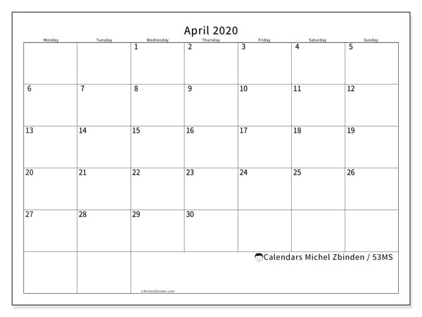 April 2020 Calendar, 53MS. Free printable bullet journal.