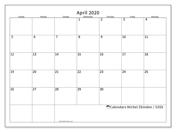 April 2020 Calendar, 53SS. Calendar to print free.