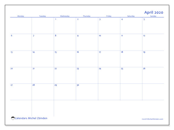 April 2020 Calendar, 55MS. Monthly calendar to print free.