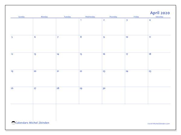 Calendar  April 2020, 55SS