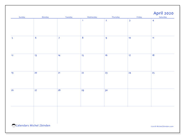 April 2020 Calendar, 55SS. Free printable calendar.