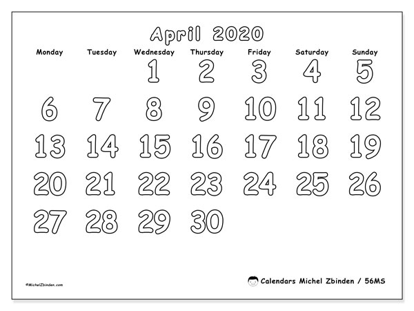 April 2020 Calendar, 56MS. Monthly planner to print free.