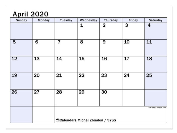 April 2020 Calendar, 57SS. Free printable monthly planner.