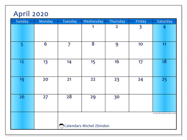 April 2020 Calendar, 58SS. Monthly calendar to print free.