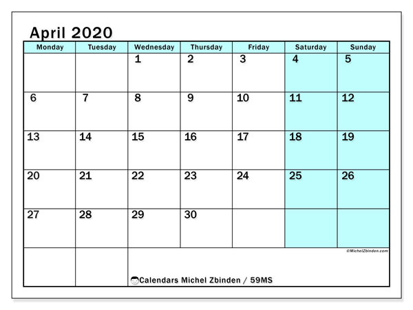 April 2020 Calendar, 59MS. Free printable planner.