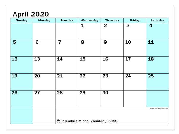 April 2020 Calendar, 59SS. Monthly planner to print free.