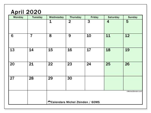 Calendar  April 2020, 60MS