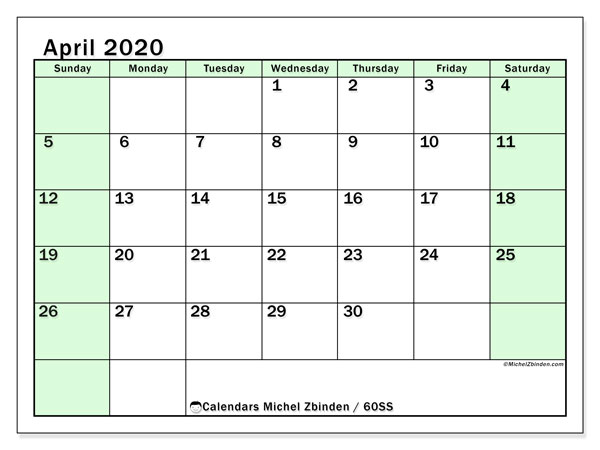 April 2020 Calendar, 60SS. Free printable monthly calendar.