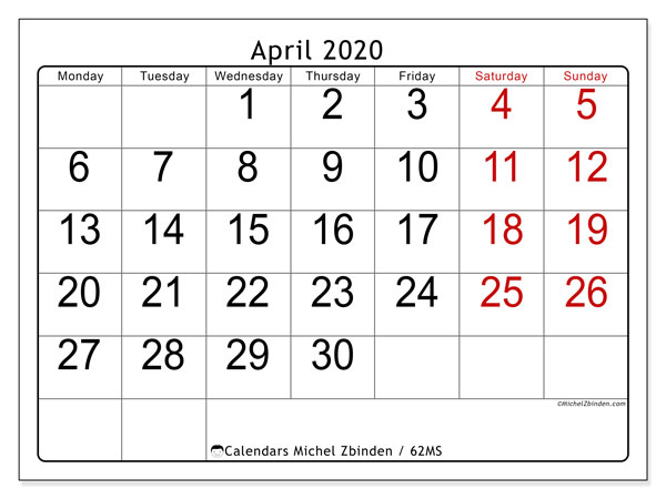 April 2020 Calendar, 62MS. Calendar for the month to print free.