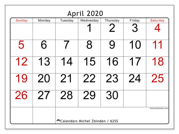 Printable calendars, April 2020, Sunday - Saturday