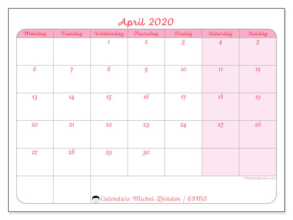 April 2020 Calendar, 63MS. Free printable monthly planner.