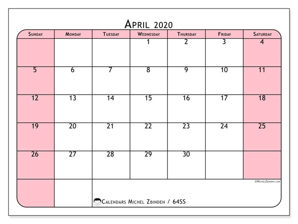 April 2020 Calendar, 64SS. Free printable calendar.