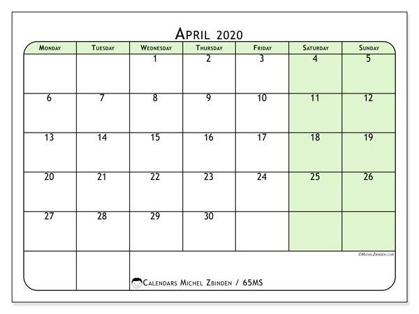 April 2020 Calendar, 65MS. Free printable monthly planner.