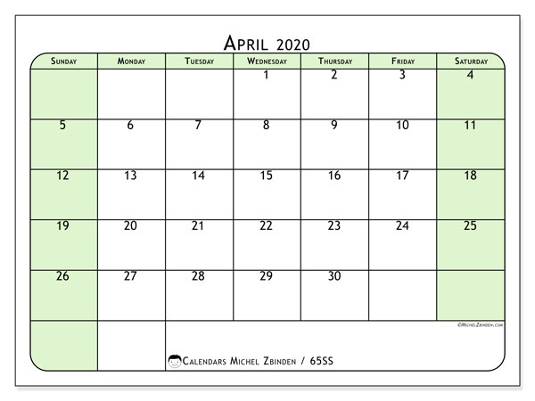 April 2020 Calendar, 65SS. Calendar to print free.